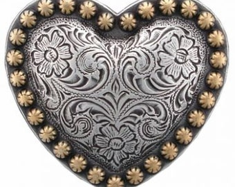 Set of 6 Engraved Western Heart Conchos--Screw Back