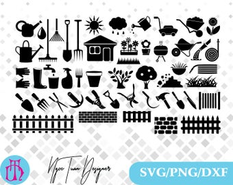 Gardening tools svg,png,dxf /Gardening tools clipart for Print,Design,Silhouette,Cricut and any more