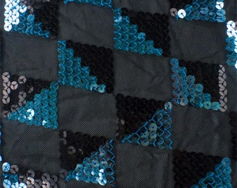 Black/Turquoise Checkered Sequin Mesh, Fabric By The Yard