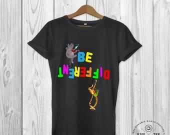 Be different t-shirt, funny graphic tee, funny animal shirt, Organic t-shirt, Vegan clothing, Fair trade tshirt, Ethical shirt, Eco Tee