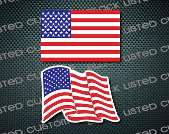 American Flag USA America Flag Waving Custom Vinyl Decal Sticker