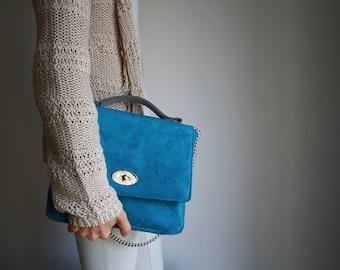 Woman bag, day bag, blue, vegan, shoulder bag, made in Italy, handmade, bag, soft, gift for you, handbag, craft
