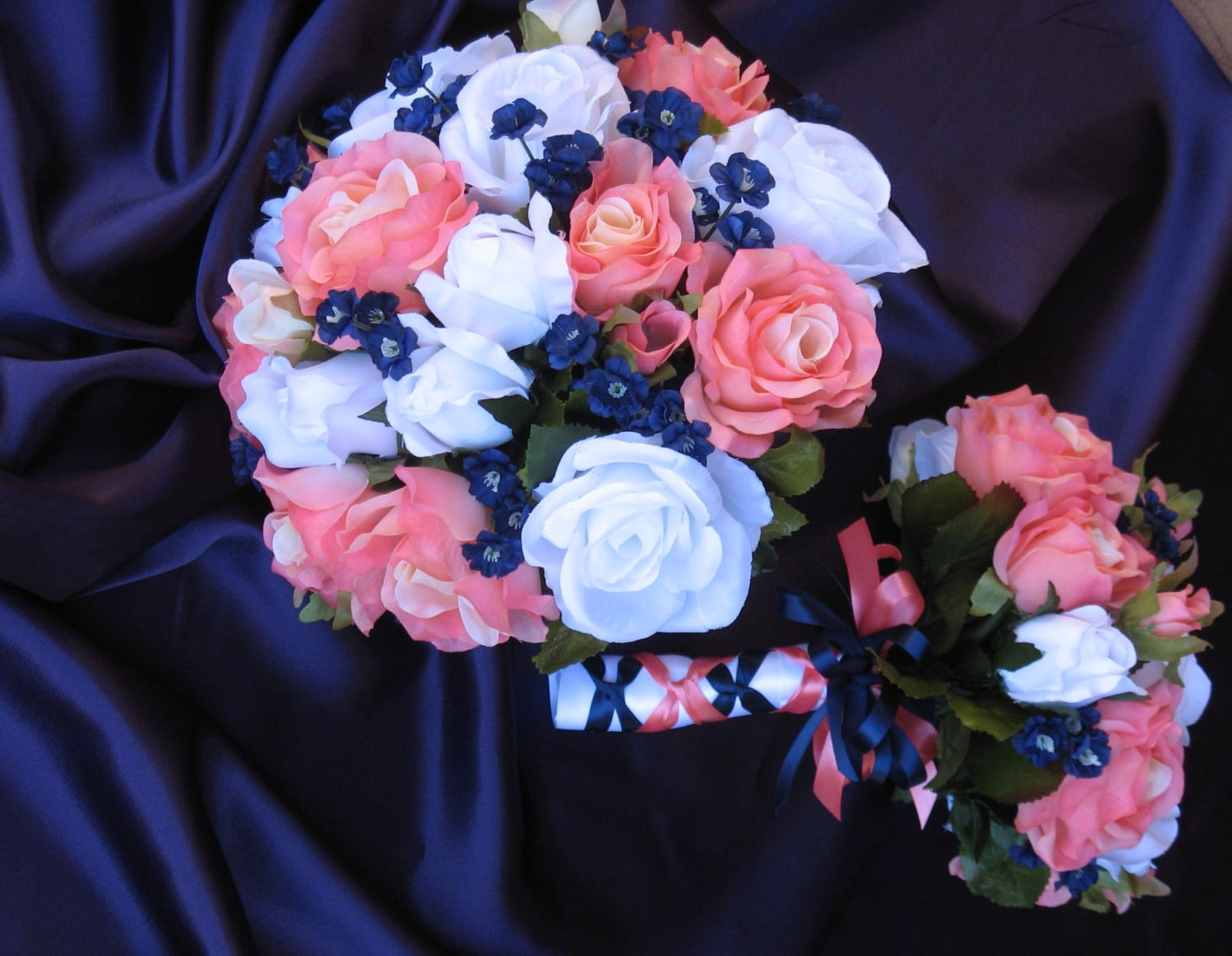 navy and coral reef bridal bouquet silk coral reef and navy. Black Bedroom Furniture Sets. Home Design Ideas