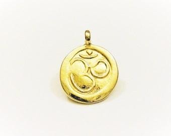 Vermeil, 18k gold over 925 sterling silver om charm or pendant 1pc., shiny  gold om charm, vermeil ohm, meditation finding