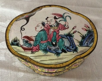 Early 19th C Chinese hand Painted Canton Lobed Enamel Cloisonne Box