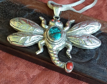 Sterling silver dragonfly turquoise and coral pendant