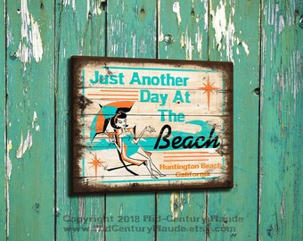 Retro Beach Sign Personalized with your Beach Mid Century Modern Vintage Style Shabby Chic custom wooden sign