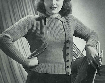 1940s cardigan and top twin-set, Patons and Baldwins 'Doreen' - Vintage Knitting Pattern PDF (436)