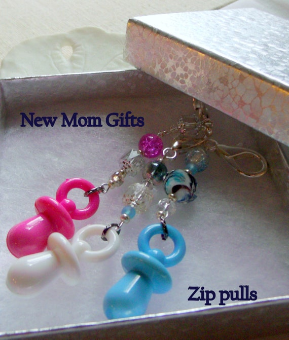 baby shower favors - new Mom gifts - Paci zipper pulls - Diaper bag -  Kitschy bright acrylic Pacifiers - for the new baby - proud aunt