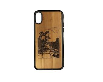 Buddha Kamakura iPhone Case Cover for iPhone X by iMakeTheCase Bamboo Wood + TPU Wrapped Edges Daibutsu Dhyani Murda Meditation Nirvana