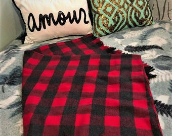 Plaid Red and Black throw blanket