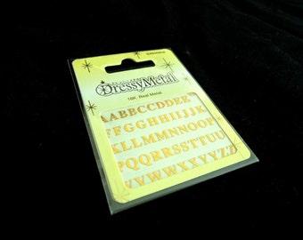 Dressy Metal ALPHABET CENTURY Sticker set 18K Gold Plated Metal iPhone sticker Nail Art Scrapbooking Card Embellishments DIY Decoration