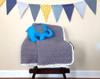 Children Chunky Crochet Blanket, Chunky Crochet Throw, Chunky Afghan, Super Soft Blanket, Dark Gray Color, Ready To Ship!!!