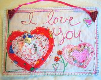I love you fiber art wall hanging, mixed media, valentine card