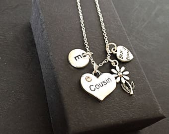 Cousin Best Friend Charm Necklace, friendship Cousin jewelry, cousins Friends Gift, Custom Cousin Gift Charm Necklace, Best Friend Necklace