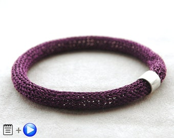 MINI Crochet tutorial - Wire Crochet Pattern - Wire Crochet Bangle - PDF pattern - Learn to crochet with wire - Bangle Bracelet Pattern