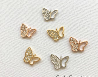 18K ROSE GOLD Plated Cz Pave Open Butterfly Charm, Butterfly Pendant, Butterfly Charm, Pave Cz Butterfly, Rose Gold Butterfly [1274]
