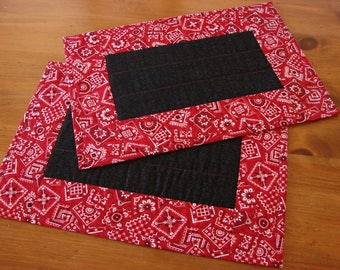 Red Bandana Pieced and Quilted Placemats