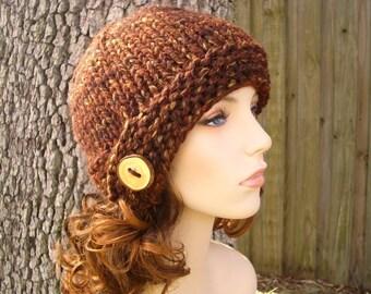 Knit Hat Womens Hat - Brown Cloche Hat Sequoia Brown Knit Hat - Brown Hat Brown Beanie Womens Accessories Winter Hat