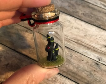 Mini Umbreon Inspired Bottle Charm Terrarium / Necklace / Christmas Ornament