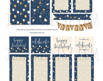 Happy Birthday/Celebrate weekly kit, Happy Planner Classic, Printable Stickers