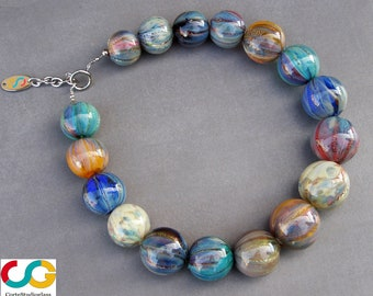 Murano glass necklace-bubble glass necklace-lampwork glass necklace-watercolor collection