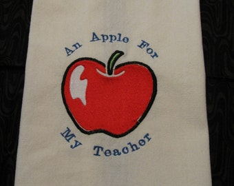 Embroidered Apple For Teacher Kitchen Towel, Tea Towel. Dish Towel