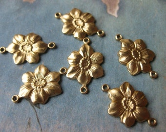 6 PC Raw Brass Stamping Flower Link / Connector Finding - GG09