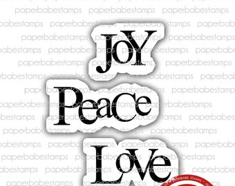 Joy Peace Love - Paperbabe Stamps - Red Rubber Mounted Stamps - Christmas Typography for paper crafting and scrapbooking.