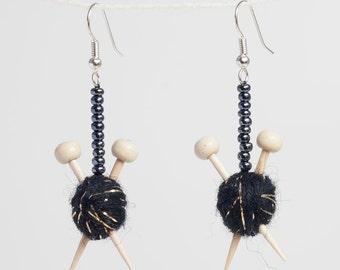 Sparkly Black Knitting Earrings - Knitting Needles in Ball of Wool