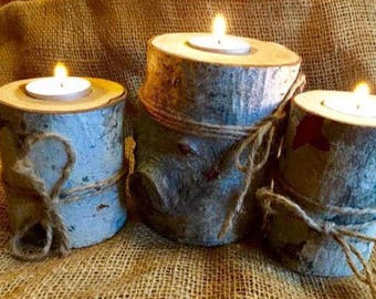 Rustic wood tea light candle holders, set of 3