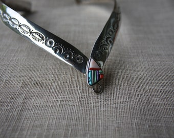 SALE Rare David Tune Silver inlaid Necklace Collar Navajo/Creek Native American Artisan