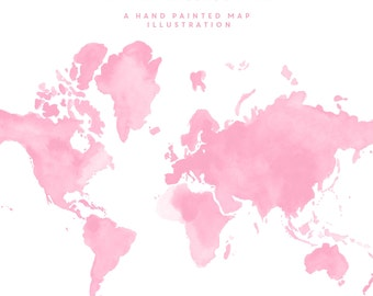 Hand Painted Watercolour Map - Pink