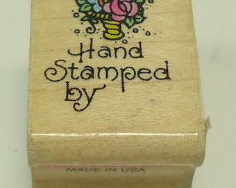 Hand Stamped By Wood Mounted Rubber Stamp By Stampendous, Flower, Flowers, Floral