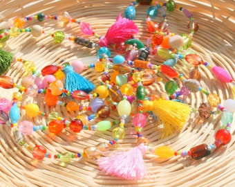 Multicolor necklace with beads and tassels