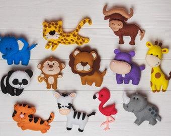 Felt zoo animals etsy felt animals zebra jungle nursery decor safari animals africa magnets for toddlers learning toys first birthday publicscrutiny Gallery
