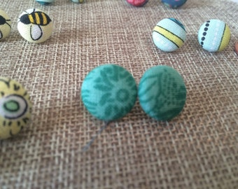 Teal and Blue Button Studs