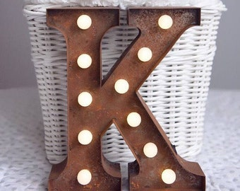 Vintage Carnival Style Marquee Light, Light up Letter K - Battery Operated