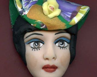 Polymer Clay OOAK   Detailed   Art Doll Face with Faux Fabric Clay  Abstract hat   Cab  FWH 1