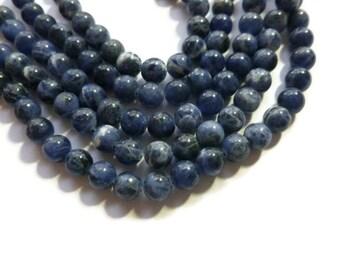 Blue Sodalite - 6mm Round Bead - Full Strand - 66 beads - navy - dark blue - blue stone - lapis - cobalt - blueberry