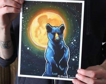 Black Bear with Full Moon; Fine Art Print