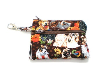 Small Zippered Wallet Change Purse Gadget Case  Puppy Fun 5413