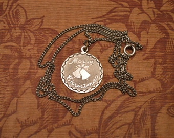 Sterling Merry Christmas Necklace