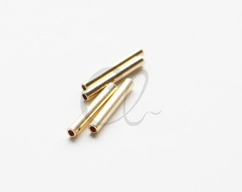 4pcs Shiny 16K Gold Plated Tube 2x15mm with ID 1.4mm  (1687C-U-214)