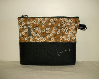Pouch, organizer bag, cosmetic case in black faux ostrich and nougat liberty fabric