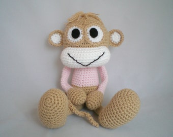 Crochet Monkey / Crochet Amigurumi Monkey / Crochet Plush Toy /  Cheeky Monkey soft toy in taupe and pink.