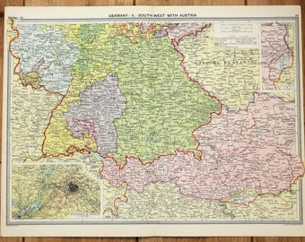 antique map southern germany berlin austria europe philips c 1920