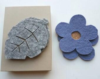 Scandinavian Leaf & Flower Felt / Cork Drink Coasters X4