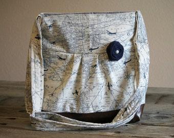 Handbag, Crossbody Purse, Messenger Bag, Medium Faux Leather Bag, Maps, Navy Map, Travel Purse, World Map, Vegan Leather, Pleated Purse