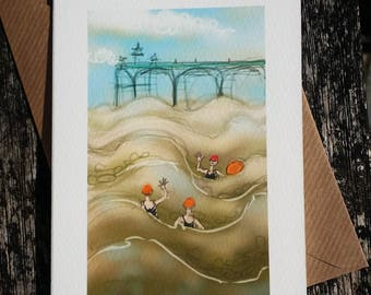 greetings card: 'A Bob in the Sea at Clevedon' - art card, open water swimming